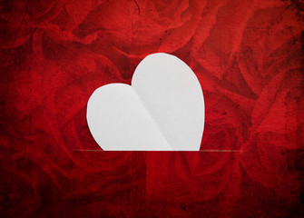 Vintage paper heart shape symbol for Valentines day with copy sp