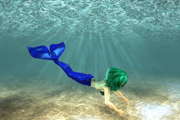 Aluminium Prints Mermaid Beautiful mermaid swimming
