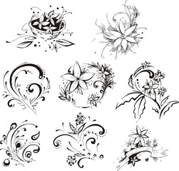 Stylistic decorative flower elements