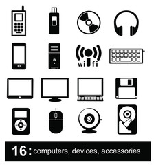 16 icons of computers, devices, accessories