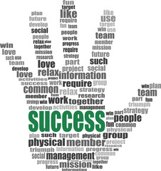 success hand symbol with tag cloud of word