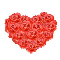 Heart of roses isolated for your design