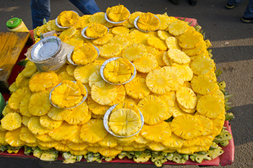 ananas slices in India, Delhi bazaar