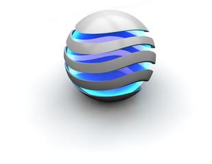 Illuminierte Kugel - blau