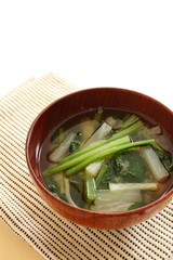 japanese cuisine, komatsuna and radish miso soup