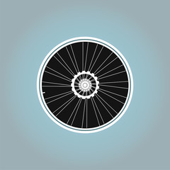 Bicycle wheel symbol on abstract background