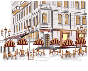 Foto op Canvas Illustratie Parijs Series of street views with cafes in the old city