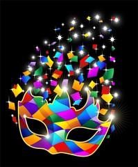 In de dag Draw Maschera Arlecchino Brillante-Glitter Harlequin Mask-Vector