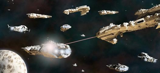 Space Battle Fleet in Action