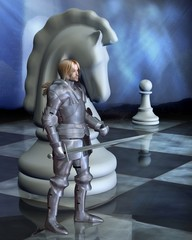 Deurstickers Ridders Chess Pieces - the White Knight