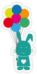 Hase mit Luftballons