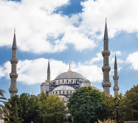 Blue Mosque from the Atmeydani Caddesi in Istanbul, Turkey