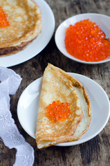 Blins with red caviar