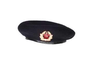 Black beret - soviet army military forces uniform hat