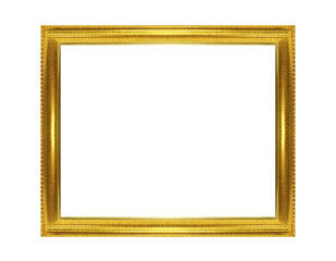 Golden frame isolated on the white background