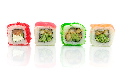 Traditional Japanese food. Different rolls on a white background