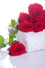 romantischer Blumenstrauss roter Rosen