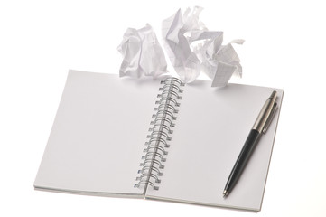 Blank notebook template pencil