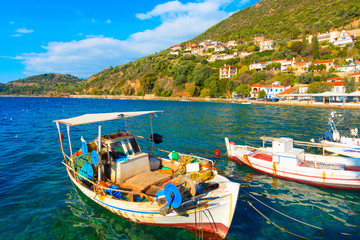 Greece Nafpactos, Traditional fishing boats in Central Greece at