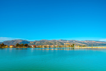 Greece, Beautifull sea lake view with green waters Aitoliko in C