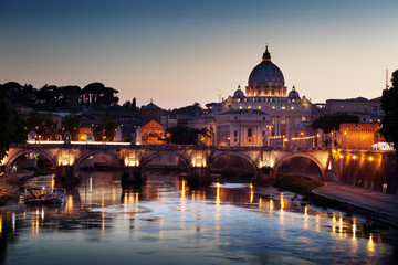 Fotomurales - view on Tiber and St Peter Basilica in Vatican