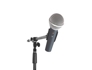 Cordless microphone standing over white
