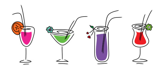 Set of drink icons