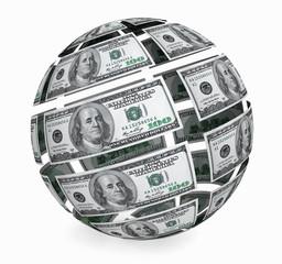 Sphere from dollars bills