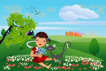 Poster de jardin Oiseaux, Abeilles wiosenna kompozycja