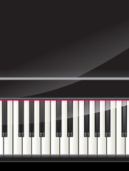 grand piano keys background with space for text