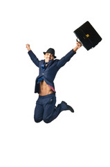Jumping businessman in business concept on white