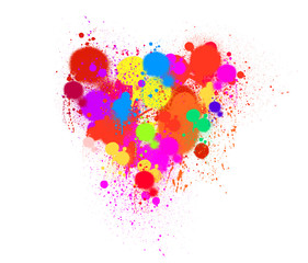 The shape of colorful hearts drops.