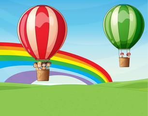 Deurstickers Regenboog Air balloons carrying kids