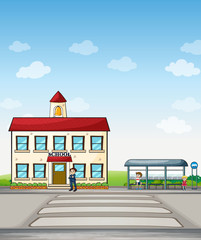 School and bus stop