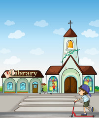 Joggers, kid on a scooter, church and library