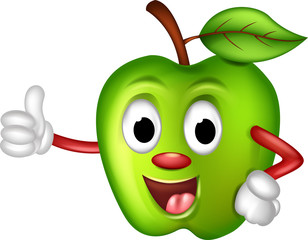 happy green apple thumbs up