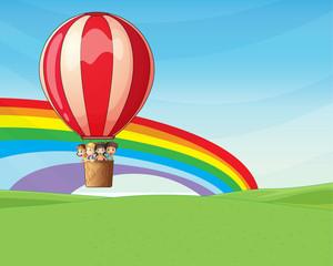 Children riding on a hot air balloon