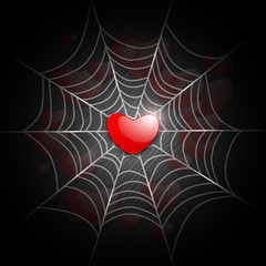 Valentines Day love background with red heart in spider net. EPS