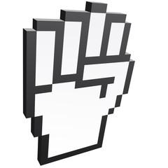 3D Pixelgrafik Hand - Faust