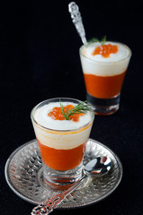 two appetizers in a glass goblet of sweet pepper