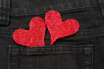 two red hearts in a pocket