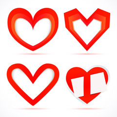 Paper stickers in the form of hearts.