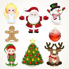 Set of Christmas icons.