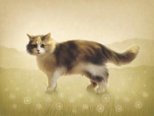 Illustration of a cat. Digital art