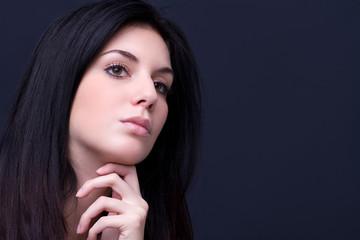 beauty young woman face detail closeup