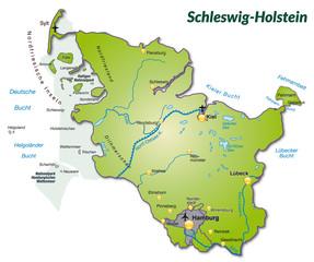 Landkarte von Schleswig-Holstein als Inselkarte