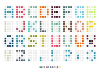 Pixel art alphabet font in pastel colors