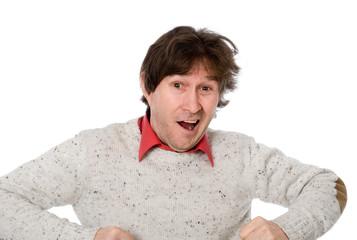 Emotional man with shaggy hair