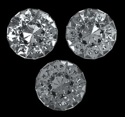 Set of diamonds on black BG - isolated with clipping path