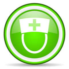nurse green glossy icon on white background